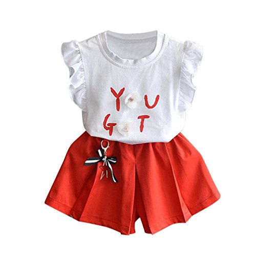 baskuwish 2018 Outfits 2PCS Toddler Kids Baby Girls Summer Outfit Clothes Letter PrintT-Shirt Tops+Shorts Pants Set (Red, - Line Game Xiii Red