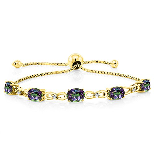 Gem Stone King 4.00 Ct Oval Green Mystic Topaz 18K Yellow Gold Plated Silver Diamond Bracelet