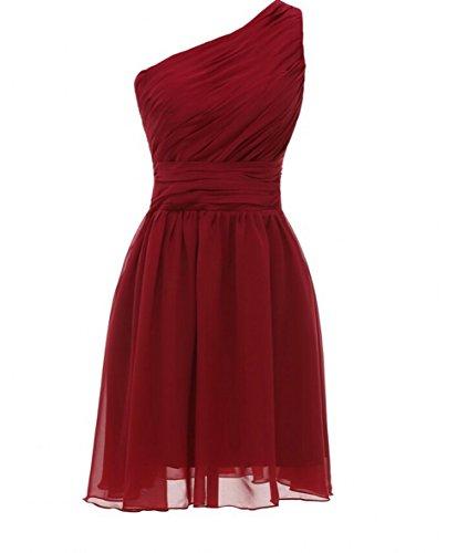 ka belleza mujeres de la gasa un hombro mini para vestidos granate