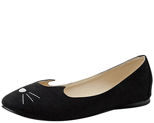(T.U.K. Women's Sophisticated Cat Ballet Flat, Black, 11 M US)