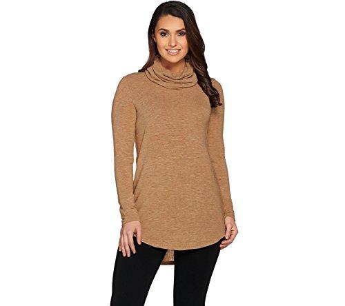 Lisa Rinna Collection Cowl Neck Sweater Tunic Hi Low Hem A284807  Camel  L