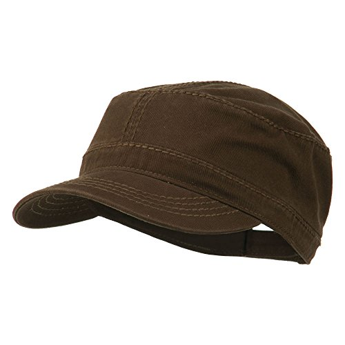 Heavy Garment Washed Cotton Cap (Garment Washed Heavy Stitching Army Cap - Dk Brown OSFM)