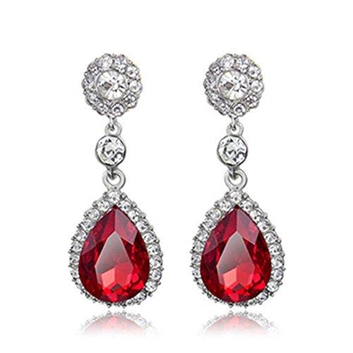 (Gorgeous Austrian Cut Crystal Rhinestone Pierced Wedding Bridal Teardrop Drop Dangle Earrings (silver-red))