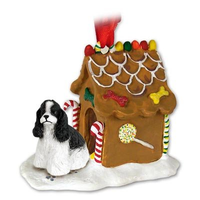 White Gingerbread Dog House Ornament - COCKER SPANIEL Dog Black and White NEW Resin GINGERBREAD HOUSE Christmas Ornament 15E by Eyedeal Figurines