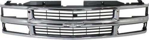 Crash Parts Plus Chrome Shell w/ Silver Insert Grille Assembly for Chevy Blazer, Suburban, Tahoe ()
