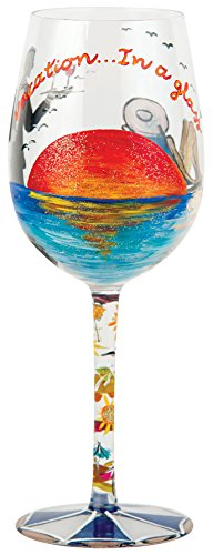 Santa Barbara Design Studio Lolita Love My Wine Hand Painted Glass, Vacation in a Glass