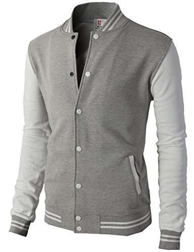 H2H Mens Slim Fit Varsity Baseball Bomber Cotton Lightweight Premium Jacket  Cmoja083-gray Medium ()