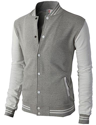 H2H Mens Slim Fit Varsity Baseball Bomber Cotton Lightweight Premium Jacket  Cmoja083-gray ()