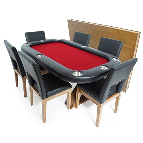 (BBO Poker Helmsley Poker Table for 8 Players with Red Speed Cloth Playing Surface, 72 x 46-Inch, Includes Matching Dining Top with 6 Dining Chairs)