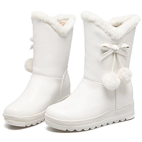 Lined Boots Warm COOLCEPT White On Pull Women 85wxApIqX