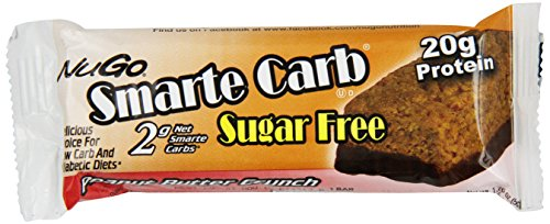 NuGo Smarte Carb Bar, Sugar free Peanut Butter Crunch, 1.76-Ounce Bars (Pack of 12)