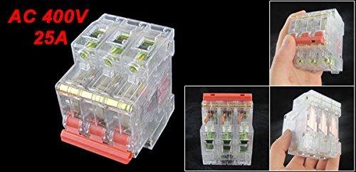 DealMux 3P Transparent Miniature Mini Circuit Breaker, AC 400V, 25 Amp
