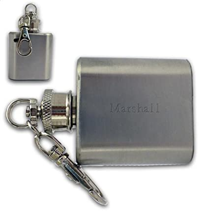 Frasco de bolsillo con llavero con texto grabado: Marshall ...