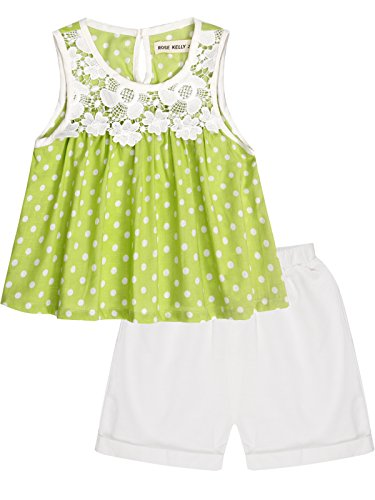 Bonny Billy Toddlers Girls' Short Sets Flower Top and Solid Pant 2 Pcs Baby Clothes 6-12 Months Green