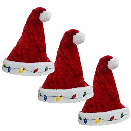 Blinking Santa Hats (3 Pack) (Santa Claus Cap)