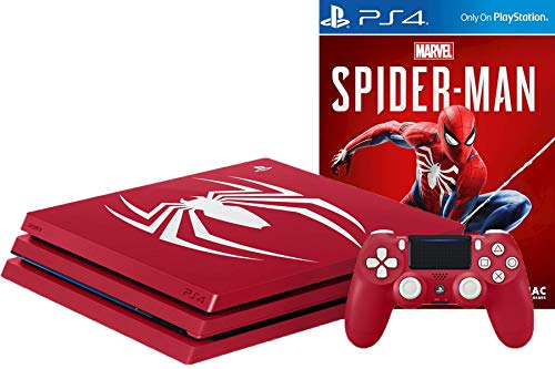 Playstation 4 PRO Limited Edition Marvel's Spider-Man Amazing Red 1TB Gaming Console with Limited Edition Dualshock 4 Wireless Controller and Marvel's Spider-Man Game Disc