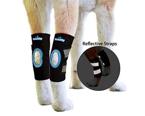 NeoAlly Dog & Cat Back Leg Ankle Braces [Pair] Canine Rear Hock Sleeves with Safety Reflective Straps for Injury & Sprain Protection