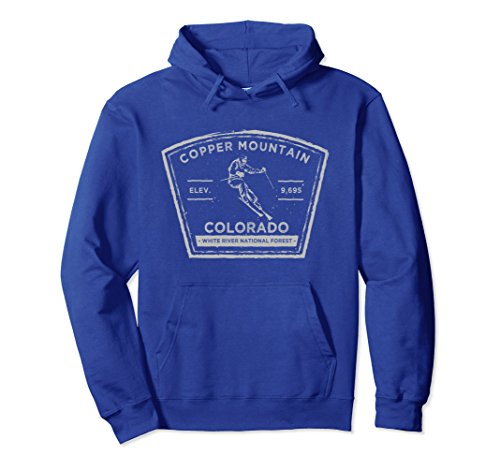 Unisex Copper Mountain Colorado Snow Skiing HOODIE Small Royal - Sweatshirt Mountain Copper