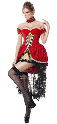 Zombie Queen Of Hearts Halloween Costume (Off Shoulder Halloween Devon Q Sexy Queen Of Hearts King Dress Cosplay Party Fancy Ball Costume (Medium))