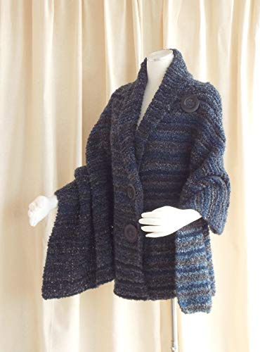 Boucle Hand Knit - Hand Knit Shawl, Women's Shawl, Knitted Wrap, Knit Cape Black, Blue, Grey, Brown Boucle' Last One Large Only
