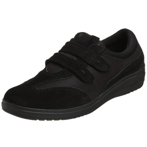 Grasshoppers Women's Stretch Plus Velcro Sneaker,Black,7.5 M US