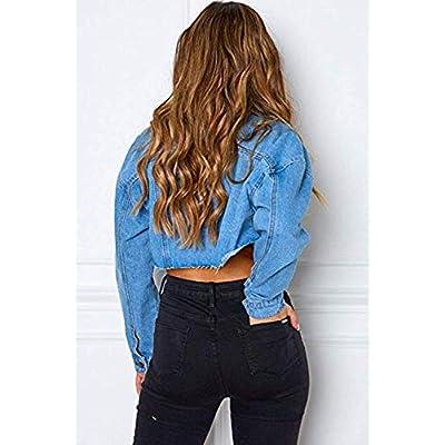 Women Jean Jacket Button Down Distressed Oversized Crop Jeans Denim Jackets Coat at Women's Coats Shop
