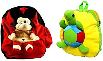 Blue Tree Soft Material School Bag for Kids Plush Backpack Cartoon Toy | Childrens Gifts Boy/Girl/Baby/ Decor School Bag for Kids(Age 2 to 6 Year) (Mickey&Tortoise)