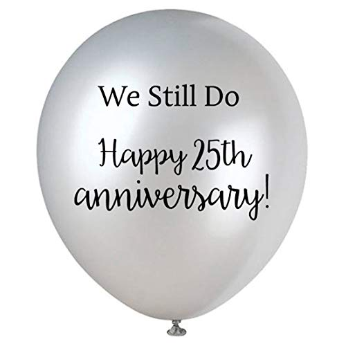 Happy 25th Anniversary Latex Balloons, Silver 16-Pack 12inch We Still Do Anniversary Party Balloon, Decorations, -