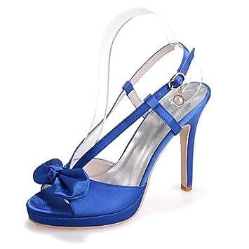 SANMULYH Zapatos De Mujer De Satén De Bomba Básica Primavera Verano Sandalias Stiletto Talón Talón Abierto
