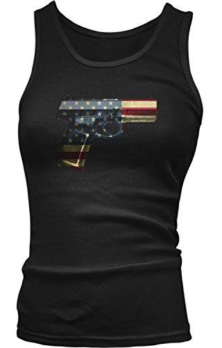 Amdesco Junior's USA Handgun, American Flag Pistol Tank Top, Black Large (Boy Beater Tank)