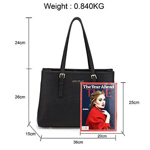Faux Womens Handbags 2 Designer Shoulder Black Leather Large Office College Design Ladies Bags fIS1tw