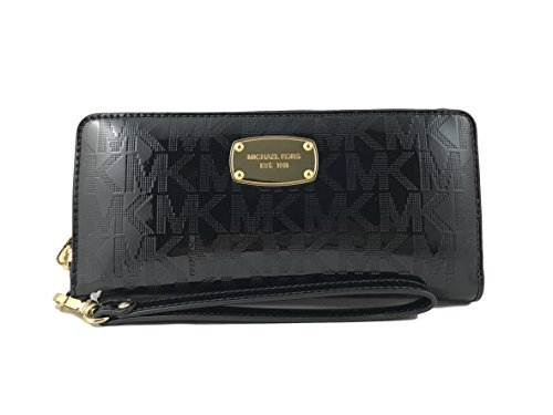 - Michael Kors Black Jet Set Travel Continental Black Mirror Zip Around Wallet Wristlet