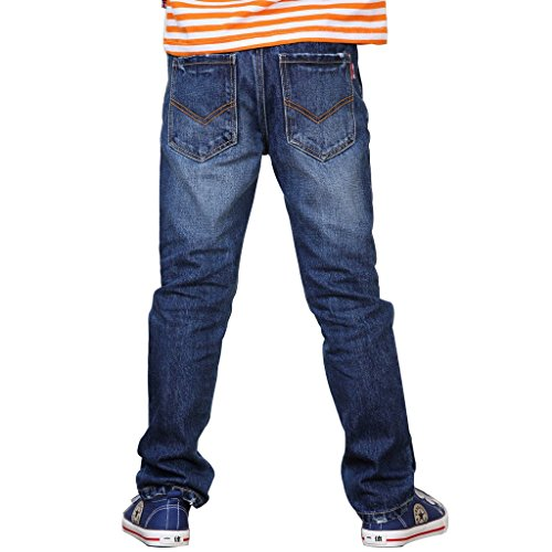 Leo&Lily Boys' Kids' Husky Waist Cotton Denim Regular Fit Jeans Pants (Dark Blue, 10)