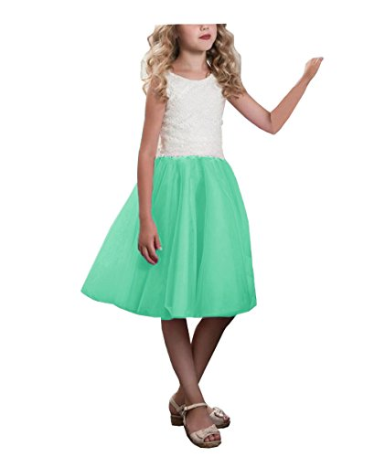 SABRridal Girls' Lace Scoop Tutu Knee Length Tank Pageant Flower Girl Dress 5 WhiteMint