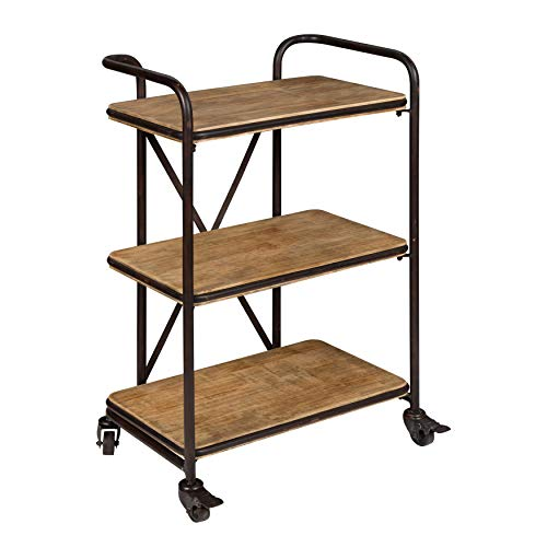 Kate and Laurel Kesson Wood and Metal 3 Tiered Rolling Bar Cart
