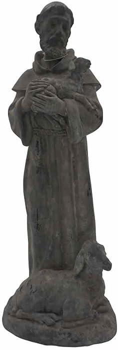 """Comfy Hour 15"""" St. Francis Statue Garden Sculpture Indoor and Outdoor Saint, Gray"""