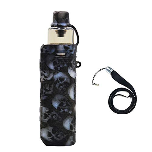 VOOPOO Drag x Device Holster Silicone Case Cover Shield Wrap Skin Protective Case, with Lanyard (Black skull) 1