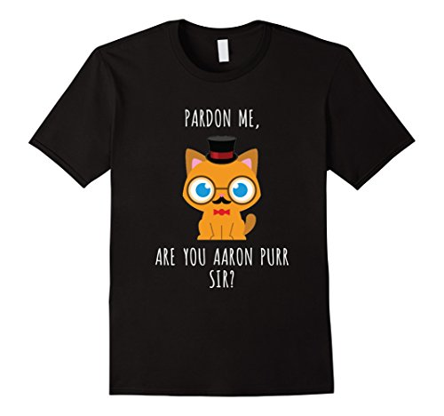 Mens Hamilton Cat T-shirt Funny Tee for Men Women Kids Gift Large Black
