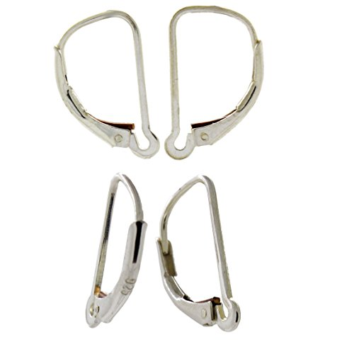 Sterling Silver Interchangeable Leverback Earring Wires with Closed Hoop (Interchangeable Earring Beads)