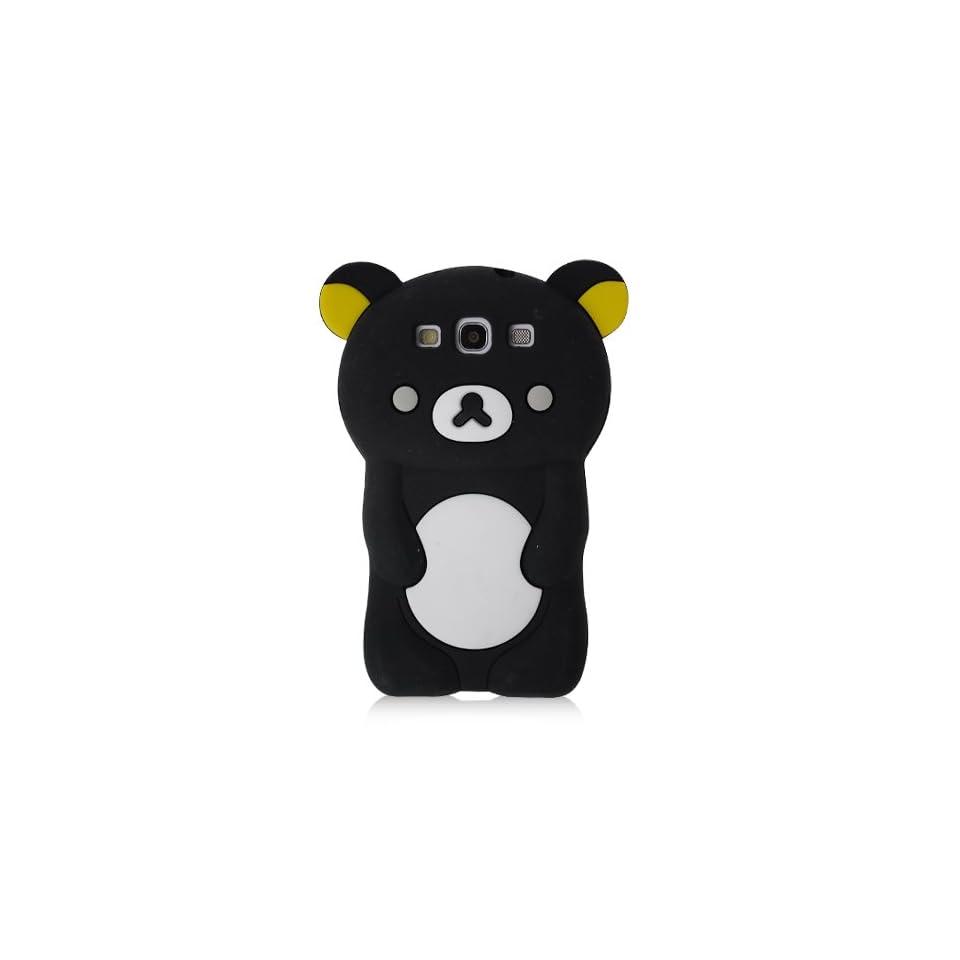TEDDY BEAR 3D Design Silicone Case Cover Skin for Samsung Galaxy S3 III   BLACK w/ Screen Protector
