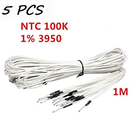 Anycubic NTC 3950 100K Thermistor with 1 Meter Wiring and Female Pin Head for RepRap 3D Printer Heatbed or Hot End Pack of 5PCS