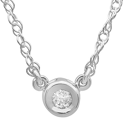 Dazzlingrock Collection 0.05 Carat (ctw) 10K Round Diamond Ladies Solitaire Pendant 1/20 CT, White ()
