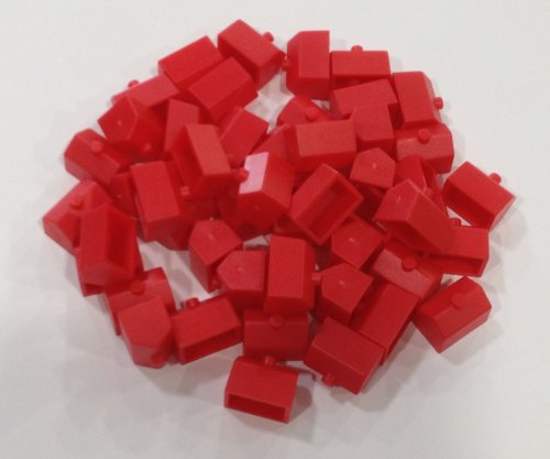 Plastic Hotels: Red Color Monopoly Replacement Hotel (Colored Miniature Town & City Buildings, Board Game Playing (Monopoly Playing Piece)