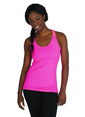 RBX Active Women's Ribbed Mesh Performance Tank Top,Medium,Electric Pink