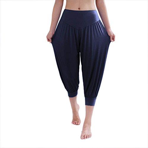 HOEREV Brand Women's Super Soft Modal Spandex Harem Yoga Pilates Capri Pants,NavyBlue,Medium