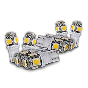 Zone Tech 5-smd Warm White High Power LED Car Lights Bulb - 8 Pieces Premium Quality 5 LED SMD SMT 194 T10 Wedge Base Warm White 12V DC/AC 1407WW