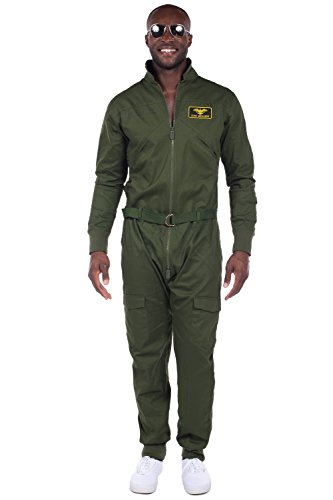 Men's Pilot Halloween Costume - Green Pilot Jumpsuit: Large (Pilot Halloween Costume)