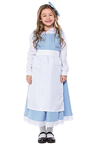 Sinastar Halloween Adult & Kids Belle Princess Blue Maid Dress Cosplay Costume (Kids-Small) (Belle Costume Classic Child)