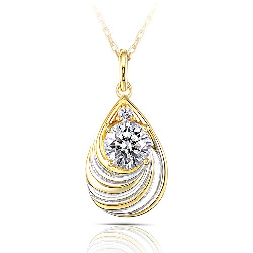 DovEggs 14K Yellow Gold White Gold Plated Silver Center 1ct 6.5mm H-I Color Heart Arrows Cut Moissanite Pendant Necklace Solitare with Accents for Women