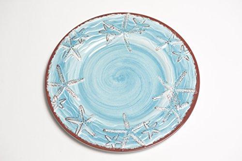 (Galleyware Blue Raised Starfish Melamine Salad/Dessert Plate, Set Of 6)